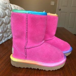 Ugg Classic Short pink rainbow toddler boots 7